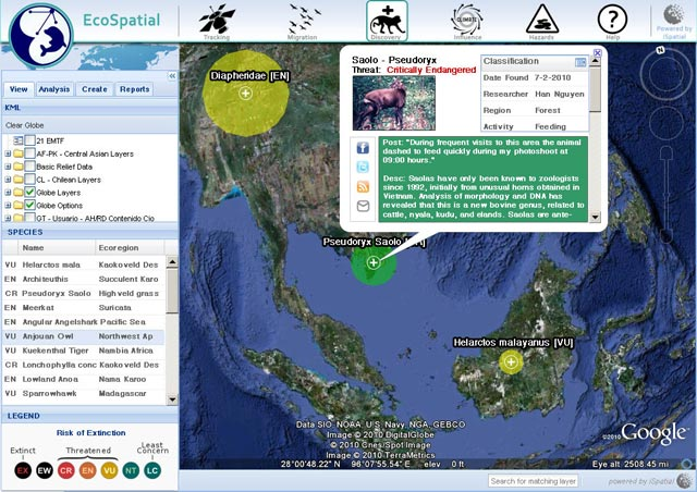 Ecospatial Google Earth Interface